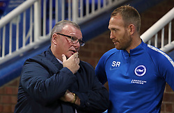 Peterborough United Manager Steve Evans chats with Brighton & Hove Albion Under 21s Coach Simon Rusk - Mandatory by-line: Joe Dent/JMP - 09/10/2018 - FOOTBALL - ABAX Stadium - Peterborough, England - Peterborough United v Brighton and Hove Albion U21 - Checkatrade Trophy
