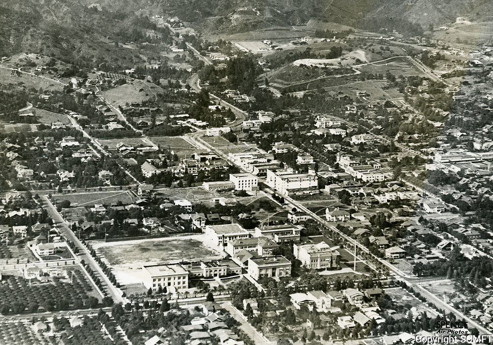 1921 Looking NE at Sunset Blvd. & Highland Ave. Hollywood High School is in the foreground