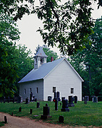 Primitive Baptist Church constructed in 1887 and cemetery, Cades Cove, Great Smoky Mountains Naitonal Park, Tennessee.