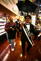 01 Feb 2006. Uptown, New Orleans, Louisiana.  Post Katrina. <br /> The Whole Foods supermarket reopens amidst great celebration 5 months after  the city was hit by Hurricane Katrina. Brass band 'The Jolly Bunch' second line their way through the store as can only happen in New Orleans.<br /> Photo; Charlie Varley/varleypix.com