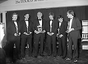 Texaco Sportstars Of The Year Awards.1983..14.04.1983..04.14.1983..14th April 1983...Pictured at the awards ceremony were the award winners..For excellence in sport in 1982.(L-R),.Noel Skehan,Hurling. Martin Furlong,Football..Ronnie Delaney,Athletics,Hall of Fame,Ollie Campbell,Rugby,Barry McGuigan, Boxing and Alex Higgins,Snooker..The award ceremony was held in The Burlington Hotel,Dublin..