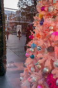 A pink Christmas tree has already appeared in the window of the Selfridges department store on Oxford Circus, during the second lockdown in the second wave of the Coronavirus pandemic, on 6th November 2020, in London, England. All non-essential retailers are to remain closed for 4 weeks until at least 2nd December.