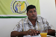 Alfredo Ortega, Chairman of the Management Committee for the Belize Sugar Cane Farmers Association (BSCFA), speaks during a management meeting. Belize Sugar Cane Farmers Association (BSCFA), Corozal, Belize. January 21, 2013.