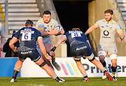 Wasps No.8 Alfie Barbeary runs at Sale Sharks flanker Cobus Wiese and No.8 Dan Du Preez during the Gallagher Premiership Rugby match Sale Sharks -V- Wasps  at The AJ Bell Stadium, Greater Manchester, England United Kingdom, Sunday, December 27, 2020. (Steve Flynn/Image of Sport)