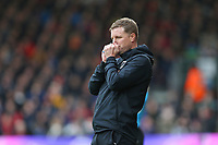 Football - 2019 / 2020 Premier League - AFC Bournemouth vs. Manchester United<br /> <br /> A tense final minutes for Bournemouth's Manager Eddie Howe during the Premier League match at the Vitality Stadium (Dean Court) Bournemouth  <br /> <br /> COLORSPORT/SHAUN BOGGUST