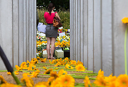Hyde Park, London, July 7th 2015. Following closed ceremonies involving victim's families and survivors of 7/7, members of the public arrives to pay their respects at the Hyde Park memorial on the tenth anniversary of the bombings in which 57 Londoners were killed and scores injured. PICTURED: A woman looks at the wreaths and boquets on the memorial as a sea of yellow gerberas lie in the foreground, placed by family members next to the posts remembering lost loved ones.