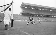All Ireland Senior Football Championship Final, Kerry v Roscommon, Kerry 1-12 Roscommon 1-6, 23.09.1962, 09.23.1962, 23rd September 1962, 23091962AISFCF, .C Mahon Roscommon center forward figits his way through stiff resistance from Kerry's S Sheehy, ..Referee: E. Moules (Wicklow),.Captain: S.g Sheehy,..