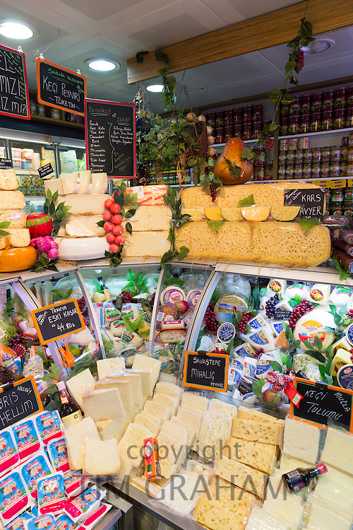 Turkish cheese and dairy products in refrigerated cabinet at food market, Kadikoy district Asian side Istanbul, East Turkey