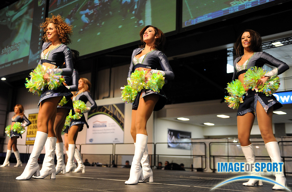 Dec 6, 2009; Seattle, WA, USA; Seattle Seahawks cheerleaders perform during tailgate festivities before the game against the San Francisco 49ers at Qwest Field.