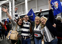 Bristol Rugby fans celebrate their team's promotion to the Aviva Premiership - Mandatory byline: Robbie Stephenson/JMP - 25/05/2016 - RUGBY UNION - Ashton Gate Stadium - Bristol, England - Bristol Rugby v Doncaster Knights - Greene King IPA Championship Play Off FINAL 2nd Leg.
