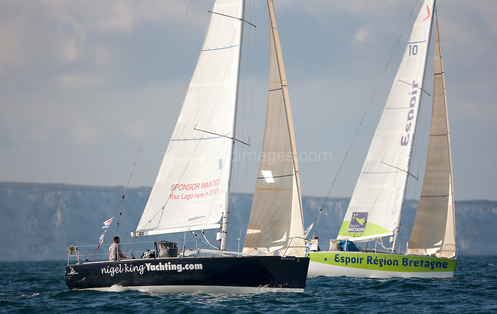 """Pictures of Nigel King (GBR) onboard his """"Nigel King Yachting"""" Figaro yacht. Shown here as he passes the waypoint along the English coast and The Needles during the final leg of the Solitaire du Figaro 2009. Dingle - Dieppe (France)..Credit all pictures:Lloyd Images...."""