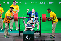 20160910 Copyright onEdition 2016©<br /> Free for editorial use image, please credit: onEdition<br /> <br /> Powerlifter Micky Yule (65kg - Men) from Edinburgh, competing for ParalympicsGB at the Rio Paralympic Games 2016.<br />  <br /> ParalympicsGB is the name for the Great Britain and Northern Ireland Paralympic Team that competes at the summer and winter Paralympic Games. The Team is selected and managed by the British Paralympic Association, in conjunction with the national governing bodies, and is made up of the best sportsmen and women who compete in the 22 summer and 4 winter sports on the Paralympic Programme.<br /> <br /> For additional Images please visit: http://www.w-w-i.com/paralympicsgb_2016/<br /> <br /> For more information please contact the press office via press@paralympics.org.uk or on +44 (0) 7717 587 055<br /> <br /> If you require a higher resolution image or you have any other onEdition photographic enquiries, please contact onEdition on 0845 900 2 900 or email info@onEdition.com<br /> This image is copyright onEdition 2016©.<br /> <br /> This image has been supplied by onEdition and must be credited onEdition. The author is asserting his full Moral rights in relation to the publication of this image. Rights for onward transmission of any image or file is not granted or implied. Changing or deleting Copyright information is illegal as specified in the Copyright, Design and Patents Act 1988. If you are in any way unsure of your right to publish this image please contact onEdition on 0845 900 2 900 or email info@onEdition.com