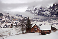 Grindelwald in the winter snow - Swiss alps - Switzerland. .<br /> <br /> Visit our SWITZERLAND  & ALPS PHOTO COLLECTIONS for more  photos  to browse of  download or buy as prints https://funkystock.photoshelter.com/gallery-collection/Pictures-Images-of-Switzerland-Photos-of-Swiss-Alps-Landmark-Sites/C0000DPgRJMSrQ3U
