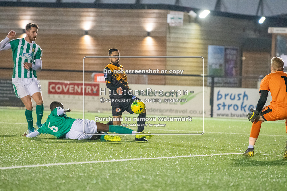 BROMLEY, UK - OCTOBER 30: Barney Williams, of Cray Wanderers FC, lifts the ball over the defender during the Kent Senior Cup match between Cray Wanderers and VCD Athletic at Hayes Lane on October 30, 2019 in Bromley, UK. <br /> (Photo: Jon Hilliger)