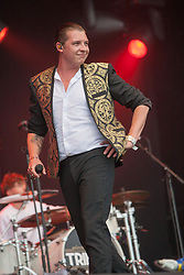 John Newman plays the Radio 1 stage.<br /> Saturday, T in the Park 2014.<br /> © Michael Schofield.