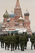 Moscow, Russia, 20/02/2005..A brigade of Russian conscript soldiers march through a snowbound Red Square.