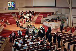 03 June 2014. New Orleans, Lousiana. <br /> Funeral for teenage shooting victim Dwayne Matthew Joseph at the Franklin Avenue Baptist Church. 17 year old Joseph was shot and killed following an altercation in the street May 26th. Raised by his great grandmother Catherine Robinson, family and friends confirmed Dwayne was a good kid who went to church, looked after his younger siblings and had never been in trouble with the law. Dwayne's older brother Damien preceded him in death. He too was shot dead in February 2011 aged just 19 years.<br /> Photo; Charlie Varley/varleypix.com