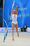 Wegscheider Natascha during qualifying at ribbon in Pesaro World Cup 11 April 2015. Natascha was born in Graz , Austria, 1999. She is an Austrian individual rhythmic gymnast.