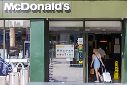 © Licensed to London News Pictures. 24/06/2020. Leeds UK. McDonalds in Leeds city centre has reopened this morning to walk in customers. The food chain is opening 200 high street branches across the UK after being closed to the public due to the Covid 19 outbreak. Photo credit: Andrew McCaren/LNP