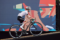 Niamh Fisher-Black (NZL) makes her way to the presentation stage at the 2020 La Course By Le Tour with FDJ, a 96 km road race in Nice, France on August 29, 2020. Photo by Sean Robinson/velofocus.com