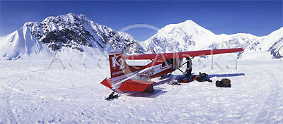 Alaska. Denali NP. Ruth Ampitheatre basecamp and runway on the Kahiltna Glacier.