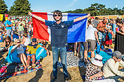 A lone Frenchman in the Obelisk arena after their world cup win - The 2018 Latitude Festival, Henham Park. Suffolk 15 July 2018