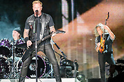 BALTIMORE, MD - May 10th, 2017 - Lars Ulrich, James Hetfield and Kirk Hammett of Metallica perform at M&T Bank Stadium in Baltimore, MD on the opening night of their Worldwired Tour 2017. The band released their tenth studio album, Hardwired... to Self-Destruct, in November 2016. (Photo by Kyle Gustafson / For The Washington Post)