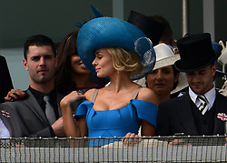 © Licensed to London News Pictures. 02/06/2012. London, UK. Katherine Jenkins. HRH Queen Elizabeth on the balcony of the Royal Box at The Investic Derby Festival today 2nd June 2012. The Royal Jubilee celebrations. Great Britain is celebrating the 60th  anniversary of the countries Monarch HRH Queen Elizabeth II accession to the throne this weekend Photo credit : Stephen Simpson/LNP