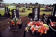 Japanese graves in a cemetery on Big Island, Hawaii. USA.
