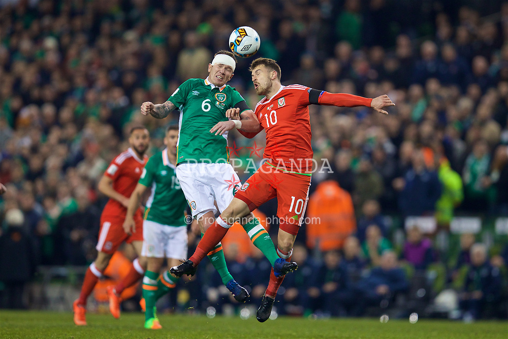 DUBLIN, REPUBLIC OF IRELAND - Friday, March 24, 2017: Wales' Aaron Ramsey in action against Republic of Ireland's Glen Whelan during the 2018 FIFA World Cup Qualifying Group D match at the Aviva Stadium. (Pic by David Rawcliffe/Propaganda)