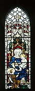 Stained glass window depicting Blessed Virgin Mary and baby Jesus Christ with Saint John the Baptist, by James Powell and Sons  1908 in church of Saint Mary, Potterne, Wiltshire, England