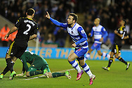 Reading's Adam Le Fondre celebrates after he scores his 1st to make it 2-1.  Barclays Premier league, Reading v Chelsea at the Madejski Stadium in Reading on Wednesday 30th Jan 2013. pic by Andrew Orchard, Andrew Orchard sports photography,