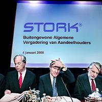 Nederland,Amsterdam ,4 januari 2008..Bijzondere Algemene Vergadering van Aandeelhouders Stork N.V. in het Okura hotel..Op de foto 2e van rechts algemeen directeur dhr. Sjoerd Vollebregt , rechts de voorzitter dhr.Kalff..4 januari 2008, 17:15 uur | FD.nl.De aandeelhouders van industrieel concern Stork hebben vrijdag tijdens een aandeelhoudersvergadering hun toestemming verleend voor de verkoop van de divisie Stork Food Systems aan Marel, dat deel uitmaakt van de IJslandse grootaandeelhouder LME..Hiermee is een van de laatste hordes genomen voor de overname van Stork door de Britse investeerder Candover. Special General Meeting of Shareholders of Stork NV.  Mr. P.J. Kalff (chairman of the board, middle) and general director Sjoerd Vollebregt (2th to theleft).