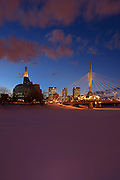 Canadian Museum for Human Rights (CMHR) and the Esplanade Rile Bridge in winter<br /> Winnipeg<br /> Manitoba<br /> Canada
