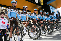March 10, 2019 - Paris, Ile-de-France, France - AG2R La Mondiale cycling team poses during the team's presentation at the start of the 138,5km 1st stage of the 77th Paris-Nice cycling race between Saint-Germain-en-Laye and Saint-Germain-en-Laye in the west suburb of Paris, France, on March 10, 2019. Whether leaders of a team or merely a team-mate, the riders on the Paris-Nice try to excel, either individually or as a team. According to the stage profiles, changes in the general standings or some unexpected circumstance during the race, each rider adapts his objectives to the situation. (Credit Image: © Michel Stoupak/NurPhoto via ZUMA Press)