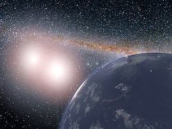 May 4, 2017 - U.S. - Thanks to observatories such as NASA's Kepler space telescope, we know that two-star systems can indeed support planets, although planets discovered so far around double-star systems are large and gaseous. It turns out, such a planet could be quite hospitable if located at the right distance from its two stars, and wouldn't necessarily even have deserts. This illustration shows a hypothetical planet covered in water around the binary star system of Kepler-35A and B. In reality, the stellar pair Kepler-35A and B host a planet called Kepler-35b, a giant planet about eight times the size of Earth, with an orbit of 131.5 Earth days. (Credit Image: © JPL-Caltech/NASA via ZUMA Wire/ZUMAPRESS.com)