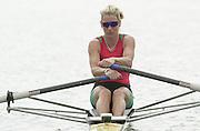 Nottingham, ENGLAND.  <br />  <br />   <br /> Commonwealth Regatta - Nottingham<br /> 20020818<br /> Women's Lightweight single scull<br /> Wales, Kirsten MCCLELLAND-BROOKS  . moving off then start.