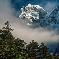 Mount Kangtega  towers above a pine forest in the Khumbu region of Nepal.
