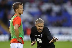 Birmingham City's Maikel Kieftenbeld (left) listens to instructions from Birmingham City assistant manager Kevin Bond