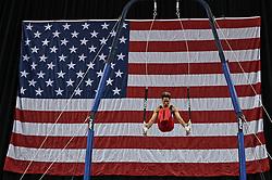 March 2, 2019 - Greensboro, North Carolina, US - YUL MOLDAUER competes on the still rings at the Greensboro Coliseum in Greensboro, North Carolina. (Credit Image: © Amy Sanderson/ZUMA Wire)