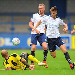 TELFORD COPYRIGHT MIKE SHERIDAN 13/10/2018 - John McAtee of AFC Telford battles for the ball with Courtney Meppen-Walters during the Vanarama National League North fixture between AFC Telford United and Chorley