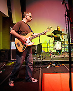 ARLINGTON, VA - April 7th, 2012 -  Archie Moore and Mike Schulman of seminal Washington, D.C. indie-pop band Black Tambourine perform at Artisphere in Arlington, VA.  The band reunited to play their first gigs since 1991 for the 20th anniversary party for Chickfactor Magazine.  (Photo by Kyle Gustafson/For The Washington Post)