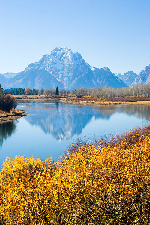 Scenic image of Oxbow Bend on the Snake River in Grand Teton National Park, WY.