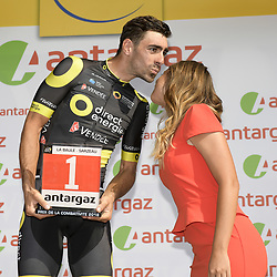 July 10, 2018 - Sarzeau, FRANCE - French Jerome Cousin of Direct energie celebrates on the podium after the fourth stage of the 105th edition of the Tour de France cycling race, from La Baule to Sarzeau (195km), in France, Tuesday 10 July 2018. This year's Tour de France takes place from July 7th to July 29th. BELGA PHOTO YORICK JANSENS - FRANCE OUT (Credit Image: © Yorick Jansens/Belga via ZUMA Press)