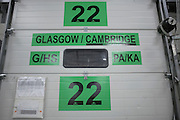 Cross-docking sign at goods-in for departing lorries taking nationwide Royal Mail post from DIRFT logistics park in Daventry