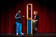 """Middletown, New York - The SUNY Orange Apprentice Players perform  """"DURANG'd"""" on stage at the William and Helen Richards Theatre at Orange Hall on the Middletown campus of SUNY Orange on April 12, 2018. """"DURANG'd"""" is an evening of 10 one-act plays by Christopher Durang, one of America's most original and funniest contemporary playwrights."""