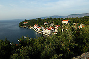 Elevated view of village of Racisce, island of Korcula, Croatia