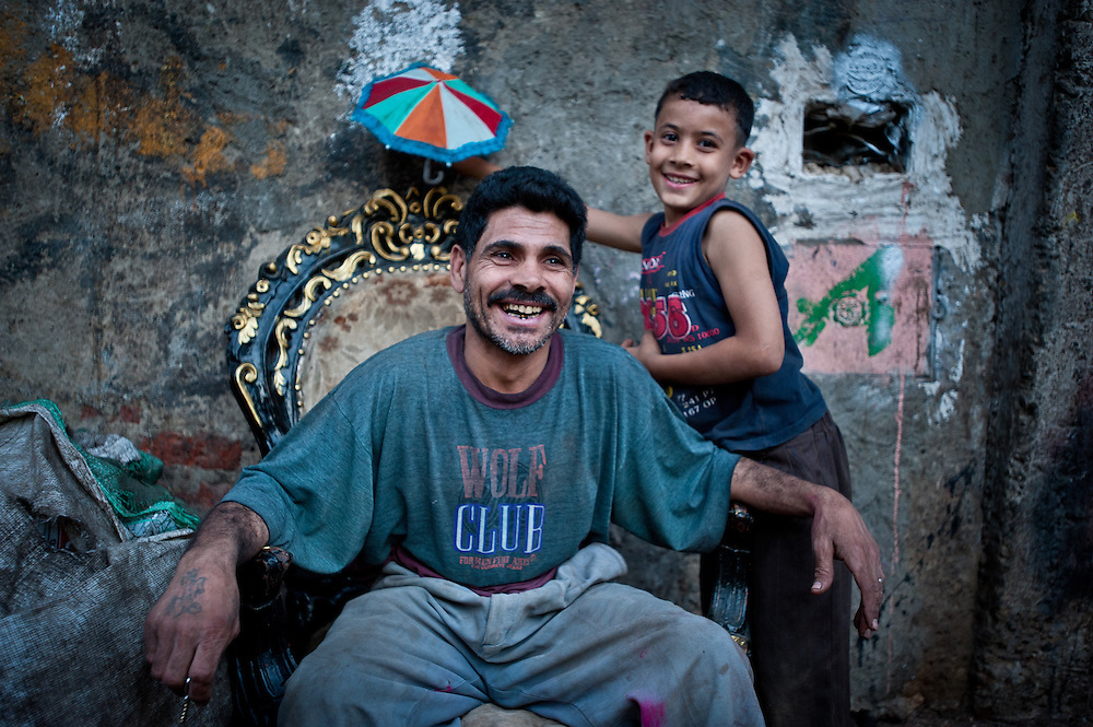 A father and son in Izbet az-Zabaleen.