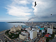 Havana, Cuba. View from La Torre Restaurant at Focsa Tower over Hotel Nacional de Cuba (l.) and the Malecon (waterfront).