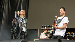 May 25, 2018 - Napa, California, U.S - SARAH BARTHEL and JOSH CARTER of Phantogram during BottleRock Music Festival at Napa Valley Expo in Napa, California (Credit Image: © Daniel DeSlover via ZUMA Wire)